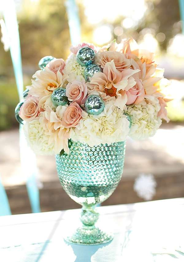 Pink and Aqua Wedding Flowers