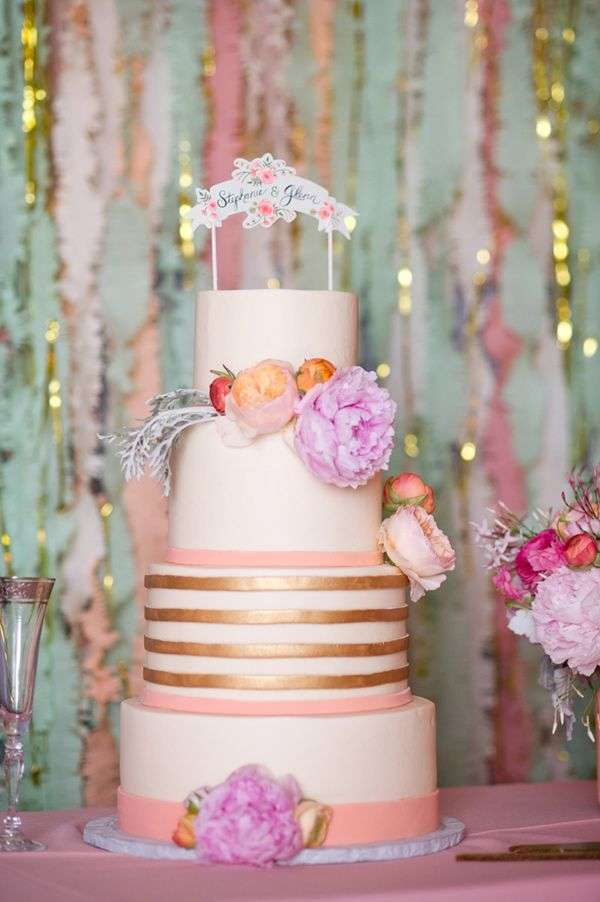 Pink and Copper Wedding Cake