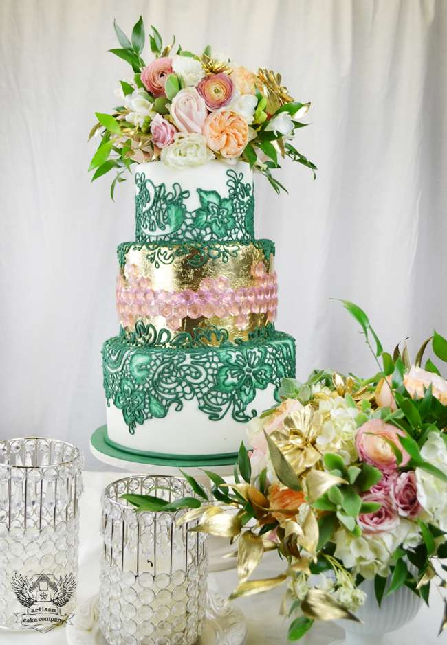 Pink and Green Wedding Cake