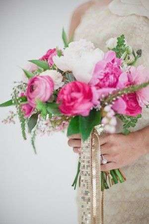 Pink and Green Wedding Bouquet