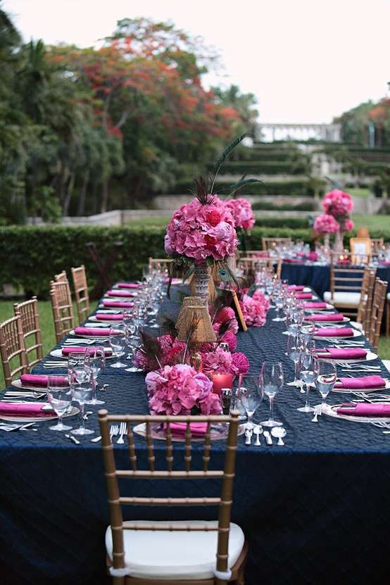 Pink and Navy Blue Wedding