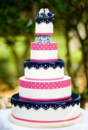Pink and Navy Blue Wedding Cake