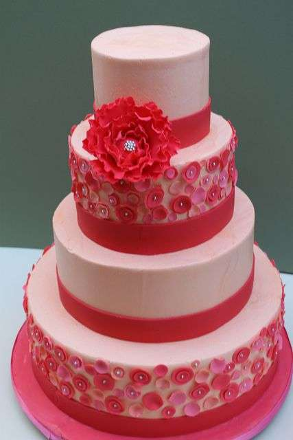 Pink and Red Wedding Cake