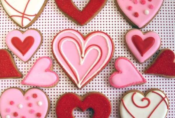 Pink and Red Wedding Cookies