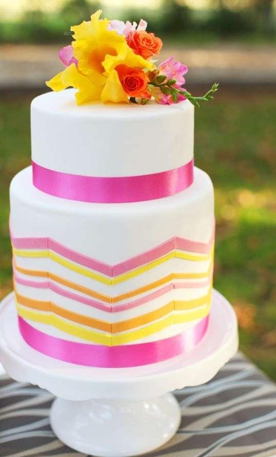 Pink and Yellow Wedding Cake