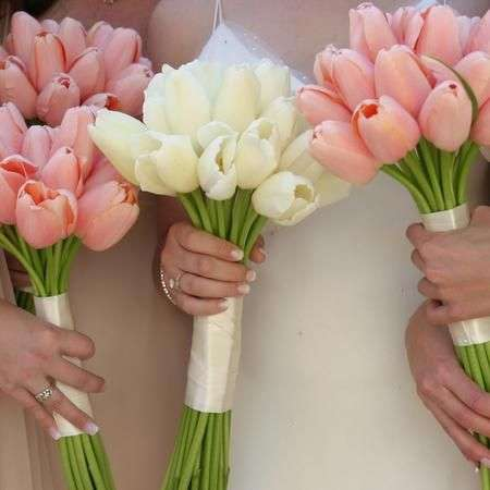 White and pink tulip wedding bouquets