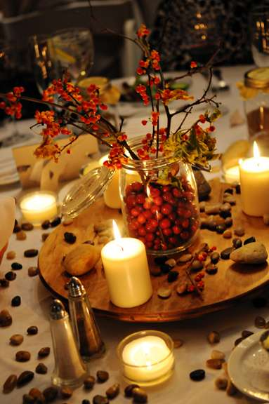 Cranberry and Camel Wedding Setup