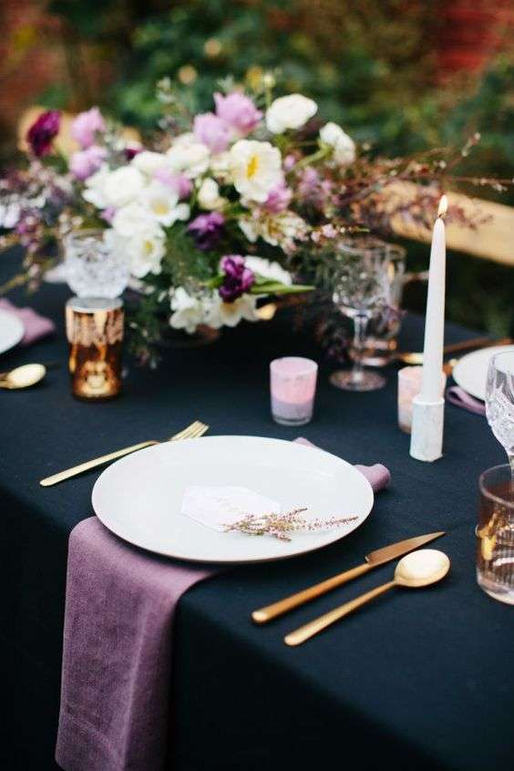 Plum and Navy Blue Wedding Setup