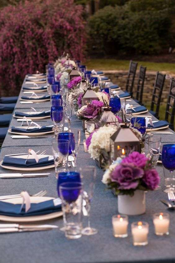 Plum and Navy Blue Wedding Table