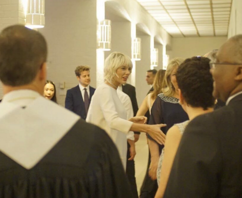 Taylor Swift Wears White at Friend's Wedding