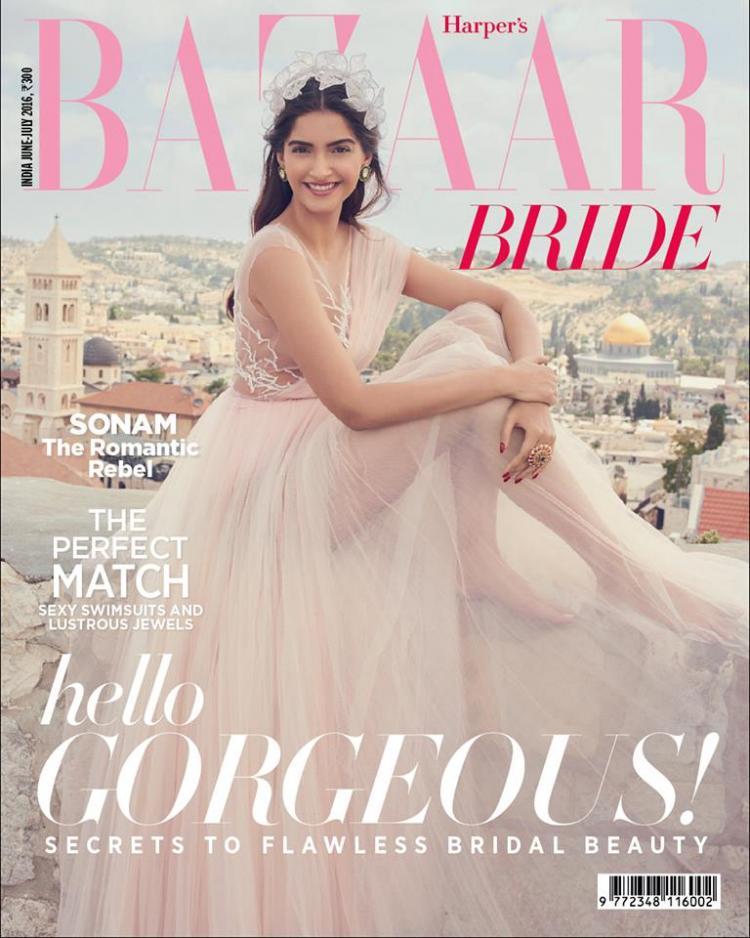 Sonam Kapoor Dress Up as Bride For Harper's Bazaar Bride Cover