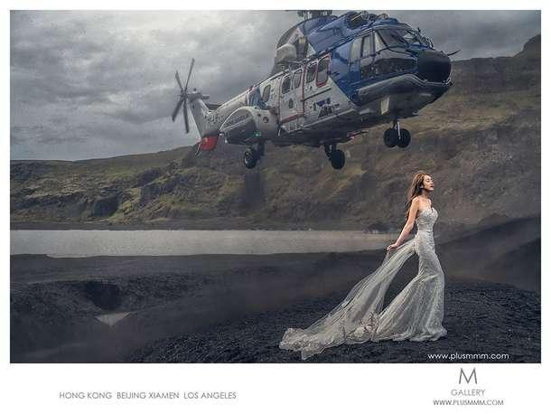 Wedding Photoshoot Photo Bombed by Helicopter