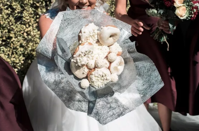 Bride Starts Viral Trend of Donut Bridal Bouquet