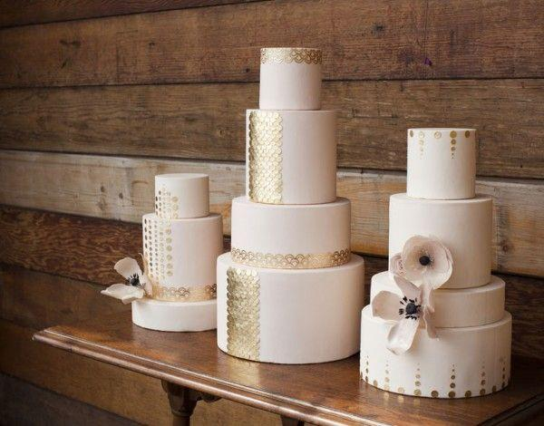 Winter Wedding Cake Trend for 2014: All White Cakes with Metallic Accents