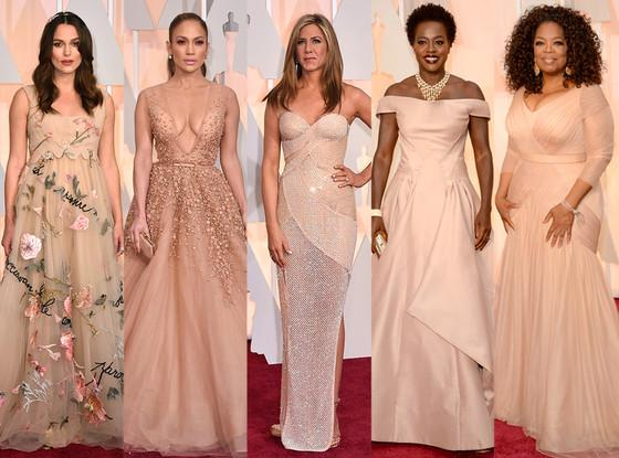 Blush and Nude Colored Dresses At The Oscars 2015