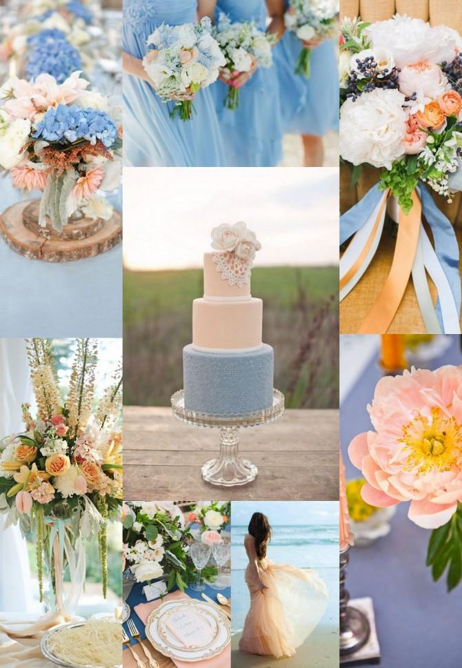 Your Wedding in Colors: Blue and Peach