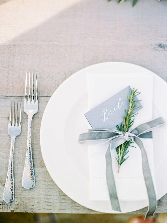 Stunning Wedding Place Setting Using Greenery