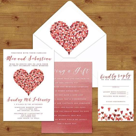 ValentineS Day Inspired Wedding Invitations  Arabia Weddings