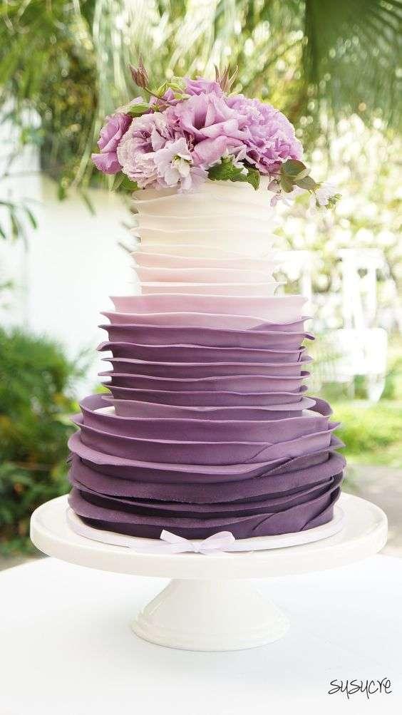 Pink And Purple Colored Wedding Cakes Arabia Weddings