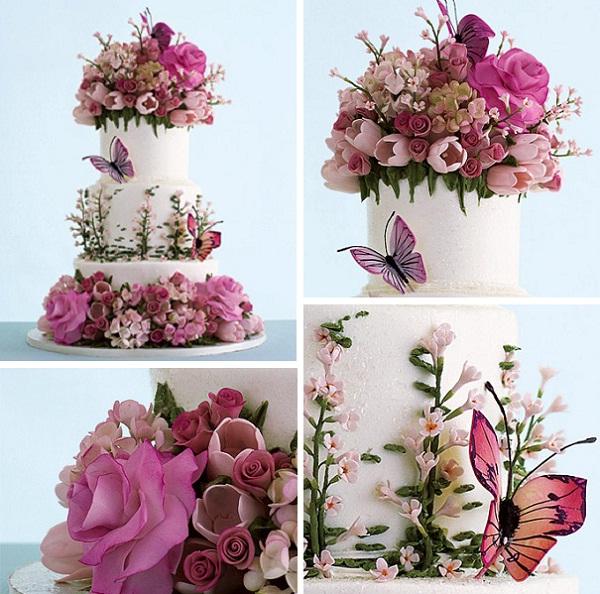 A garden wedding arabia weddings for Garden wedding cake designs