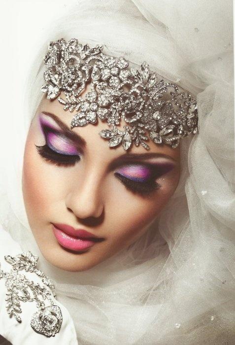 Muslim Wedding Makeup : Bridal Hijabs for the Trendy Bride - Arabia Weddings