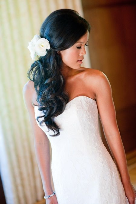 Side Swept Bridal Hair - Arabia Weddings