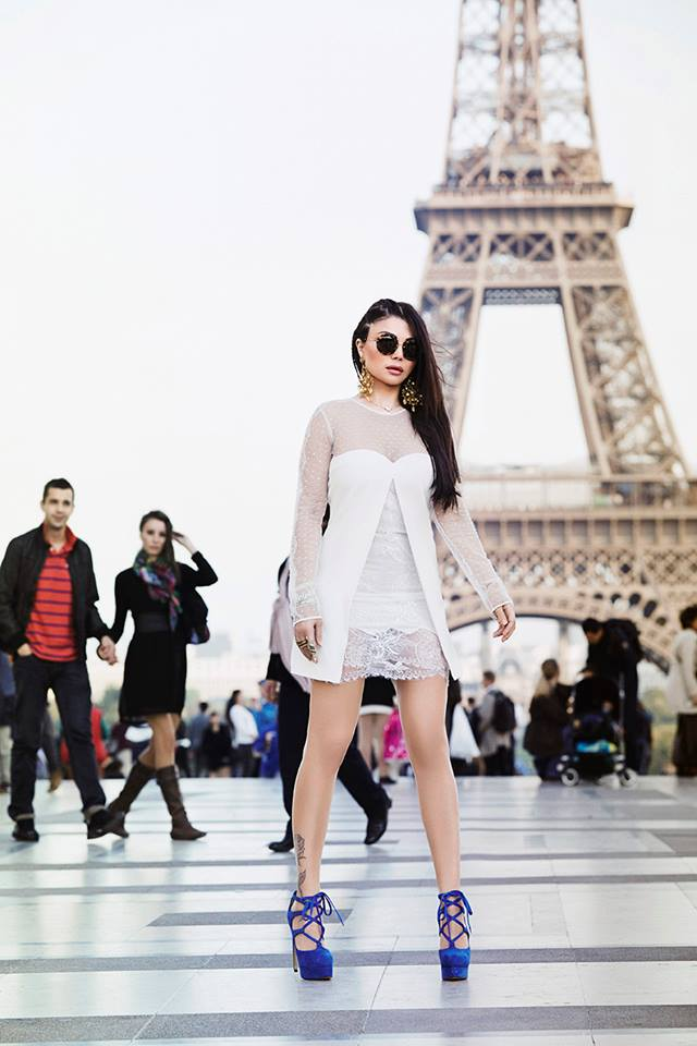 pictures  haifa wehbe at the eiffel tower in paris
