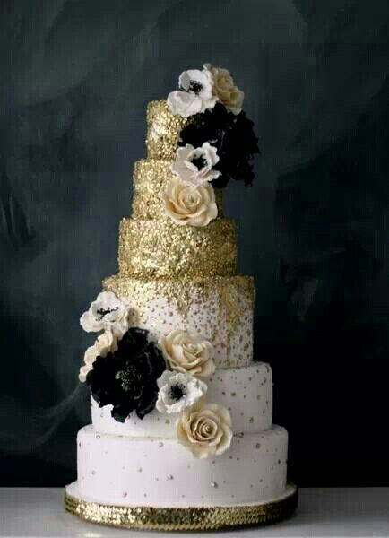 Gold Decoration On Cake : Wedding Cake Trend: Glitter Wedding Cakes - Arabia Weddings