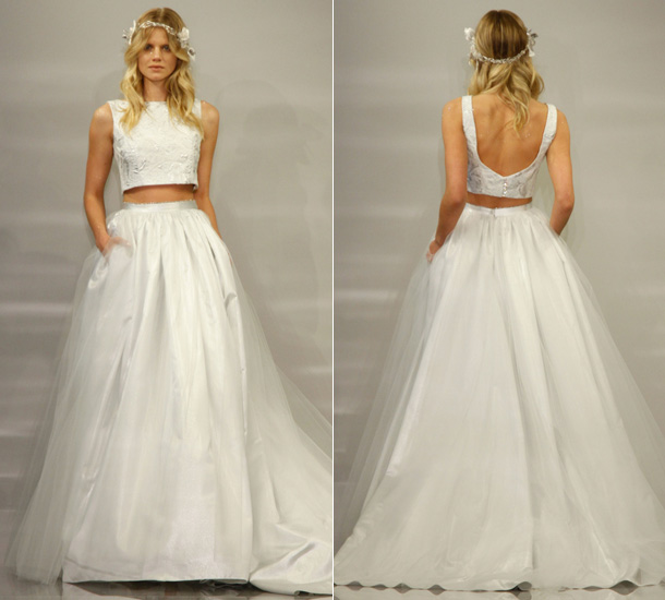 Crop top wedding dress at new york s bridal week this year