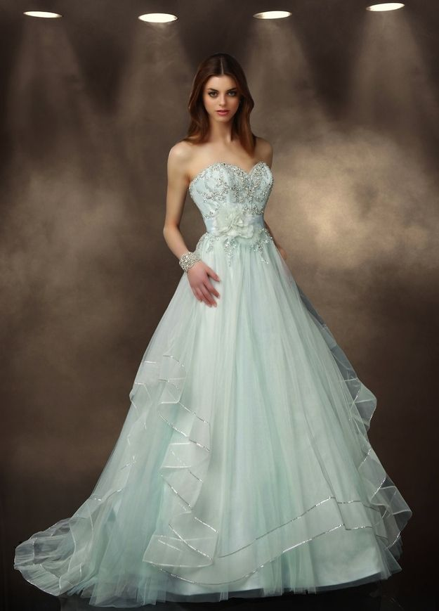 Mint green wedding dresses for summer 2014 arabia weddings for Wedding dresses in color