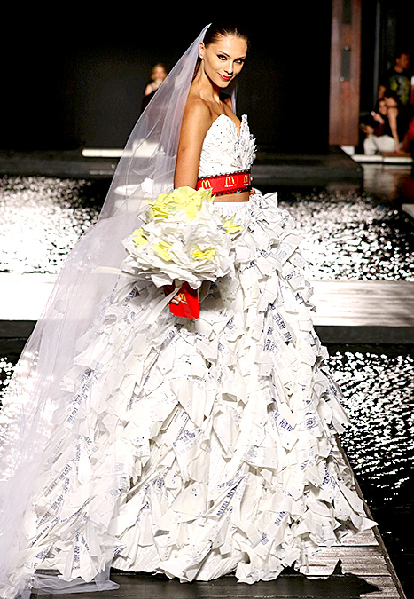 Fashion Student Creates Wedding Dress Made From McDonalds Recycled ...