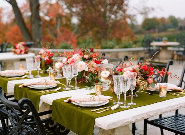 A Unique Wedding Color Combination Of Olive Green And Deep Red