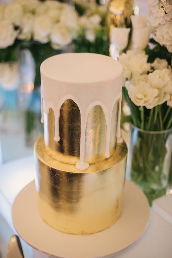 Chocolate Color Drip Wedding Cake Gold And White