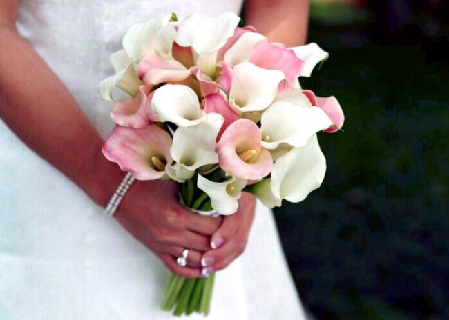 Purple White Real Touch Bridal Bouquet Pico Calla Lilies Roses And Rhinestones Plum