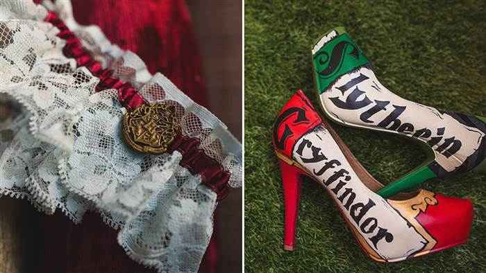 inside a couples magical harry potter wedding theme