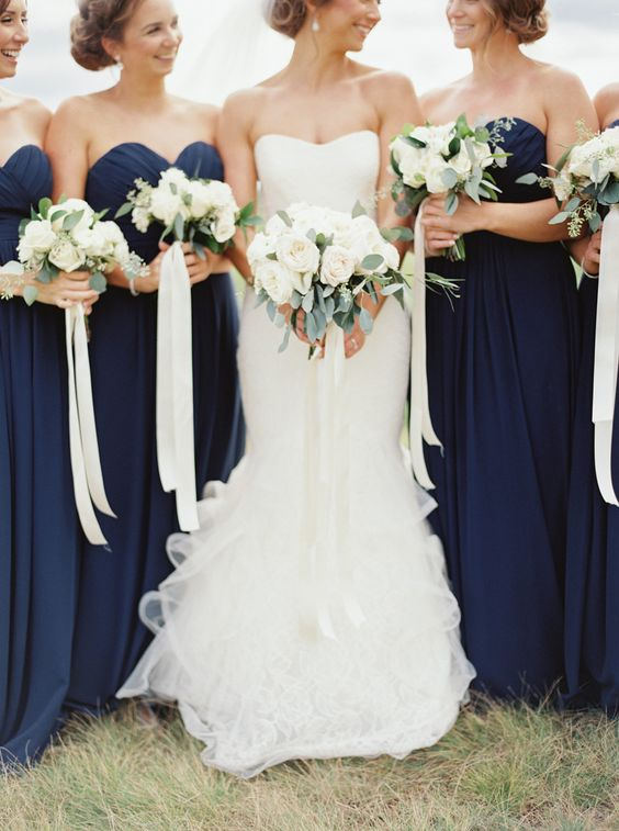 Cascading ribbons bridal bouquets arabia weddings for Navy blue and white wedding dress