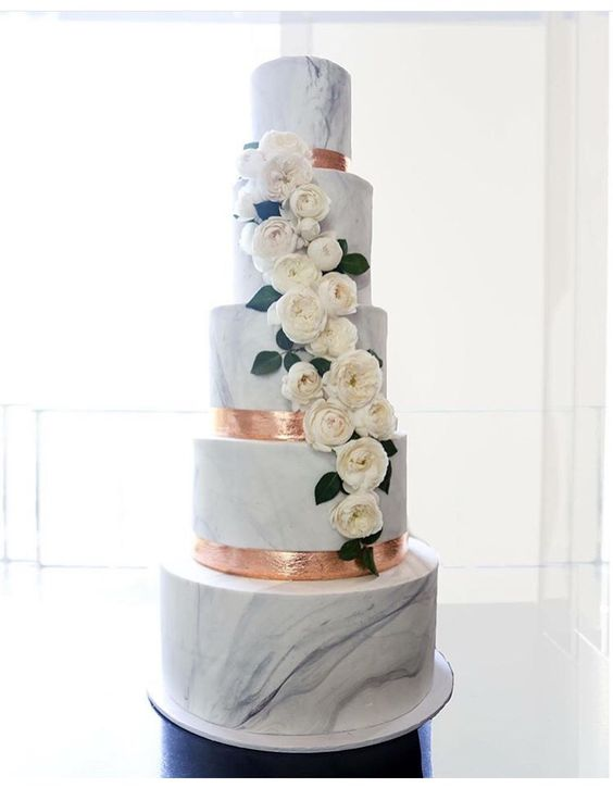 Tiered Marble Birthday Cake
