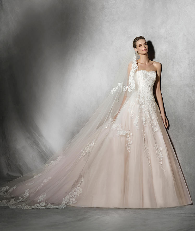 Pink wedding dresses to honor breast cancer patients for Wedding dresses for small breasts