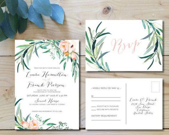 Botanical Prints For Your Spring Wedding Invitations Arabia Weddings