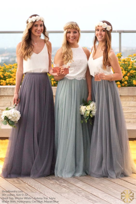 Bridesmaid separate outfit ideas arabia weddings for Wedding dress skirt and top
