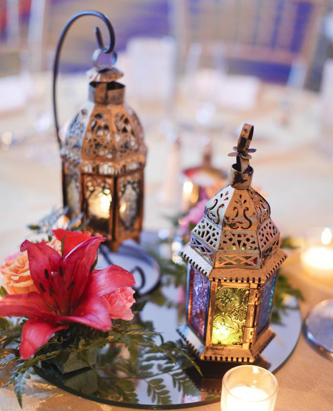 Ideas for bronze copper wedding table decoration arabia